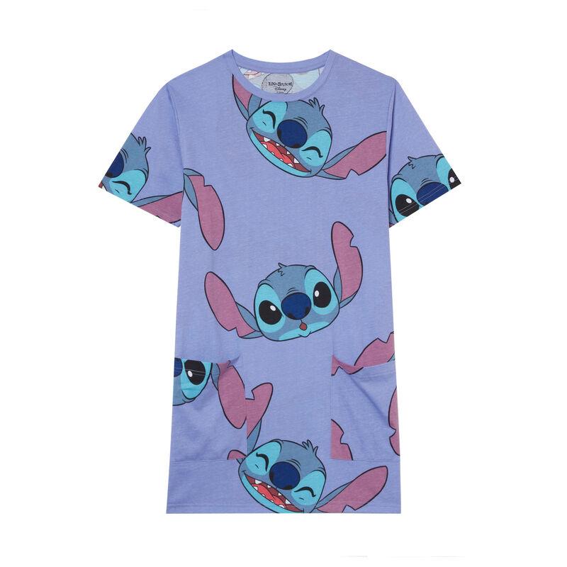 Camiseta larga con motivos de Stitch - azul;