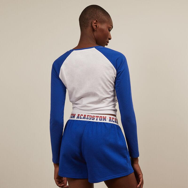 Shorts con cintura elástica - azul ;