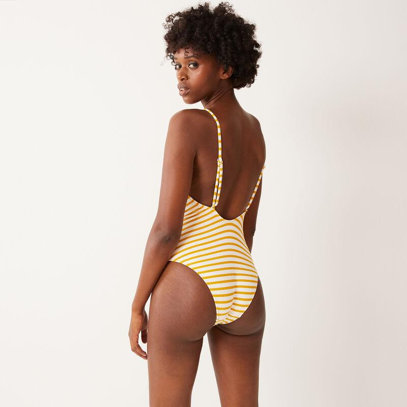 Bañador de una pieza de rayas blancas - amarillo;