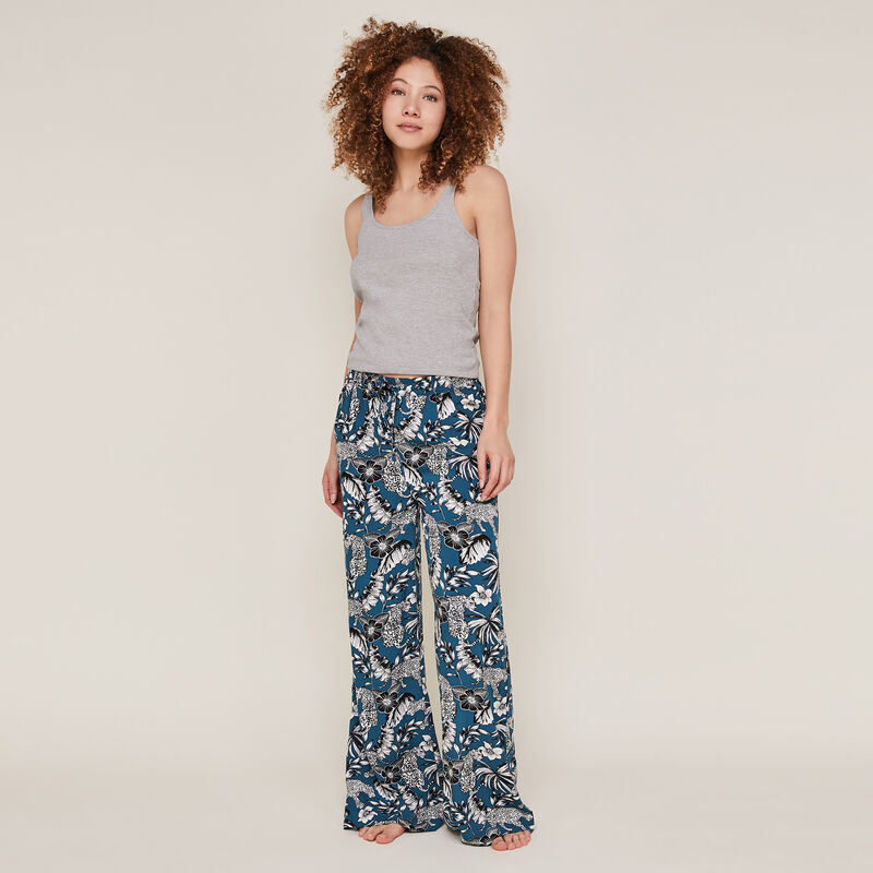 Pantalón con estampado de flores azul pato ;