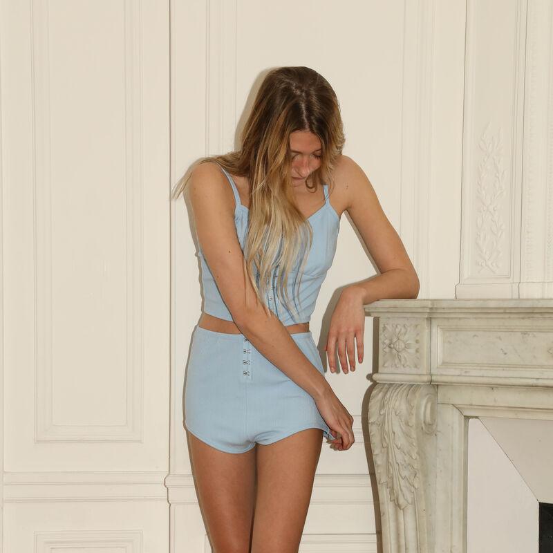 shorts de punto con detalle de corsé - azul;