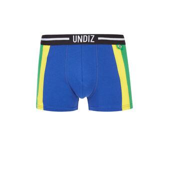 Bóxer azul, amarillo y verde brasiliz  blue.