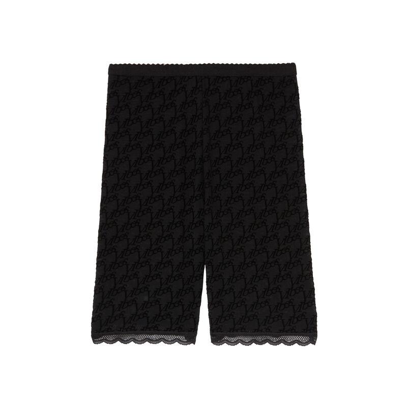 pantalón ciclista con monograma de rejilla - negro;