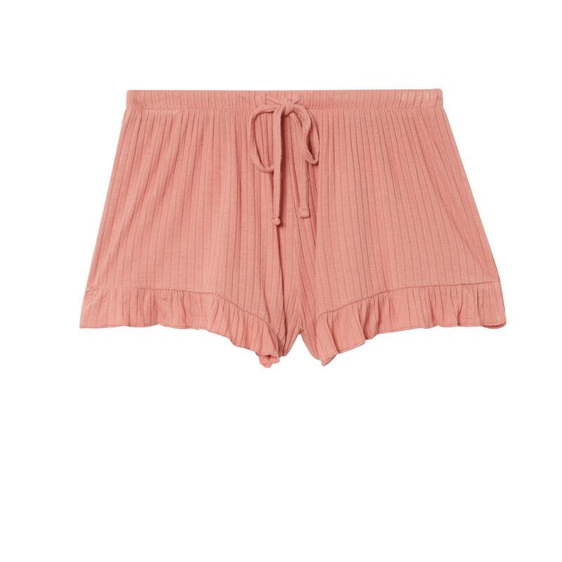 pantalón corto con volantes y lazos escotado - rosa nude;