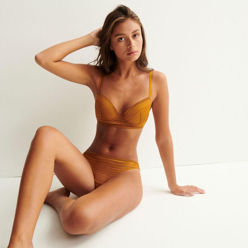 cheeky bikini de encaje fino - caramelo;