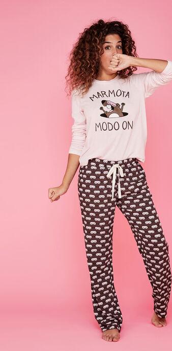 Conjunto de pijama fucsia marmotaiz pink.