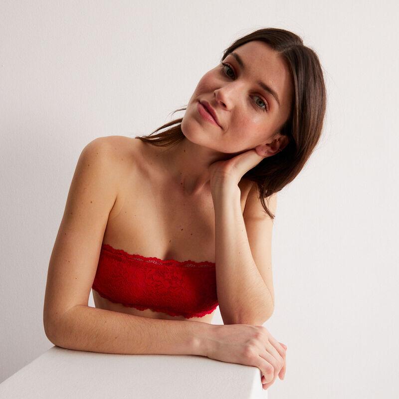 sujetador bandeau sin aros efecto corsé - rojo;
