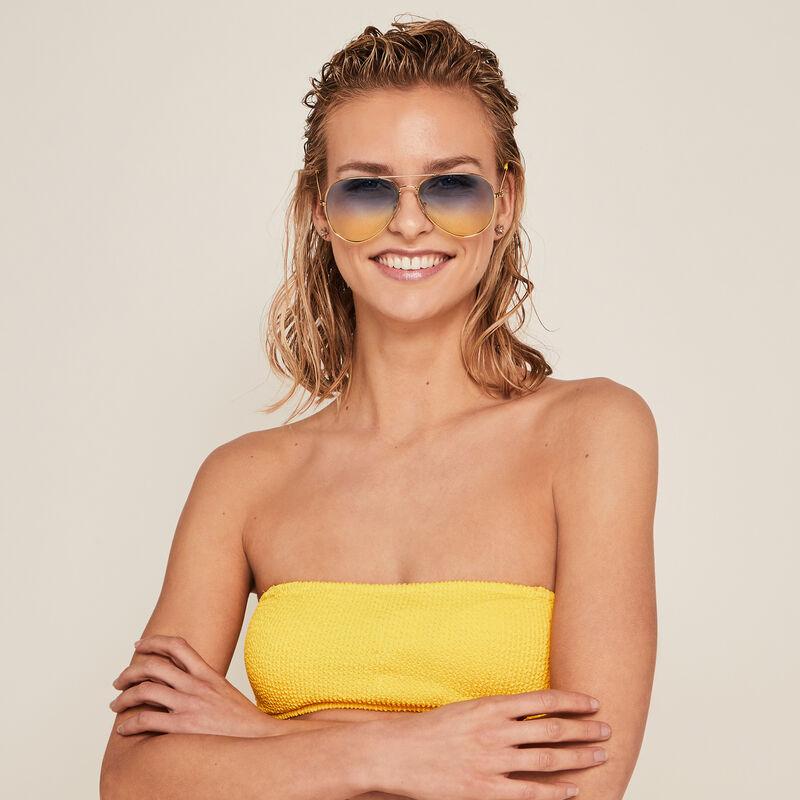 Parte de arriba de bikini bandeau - amarillo;
