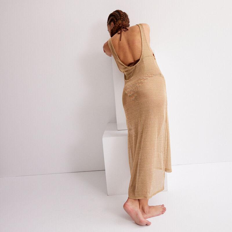 Vestido semilargo transparente - beige;