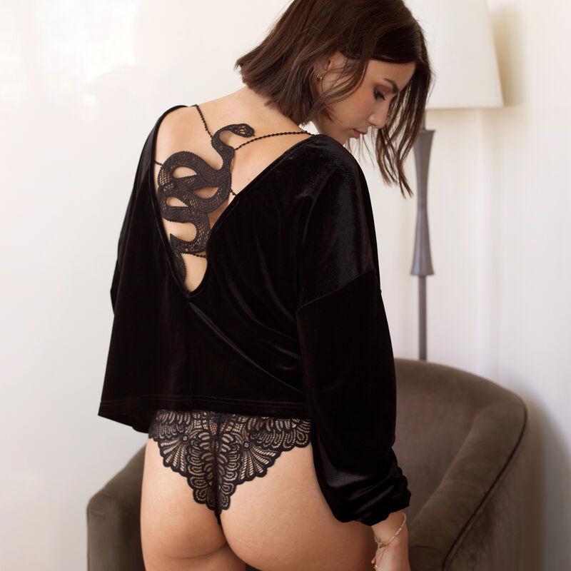 sudadera de terciopelo con espalda con tatuaje de serpiente - negro;