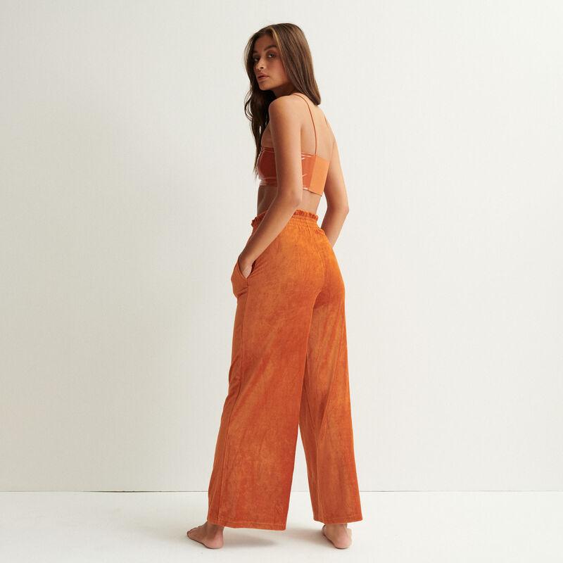 pantalón ancho de terciopelo - marrón;