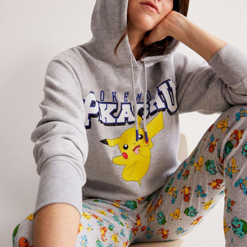 sudadera Pikachu con mensaje - gris;