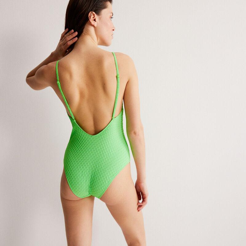 Bañador de una pieza con escote de pico - verde;