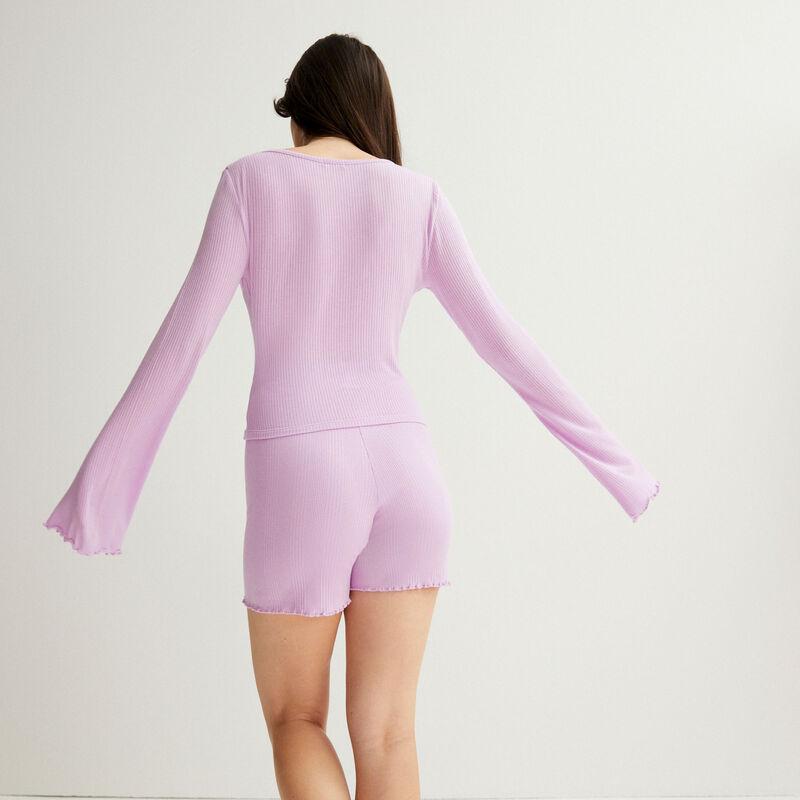 shorts acanalados de punto - lilas;