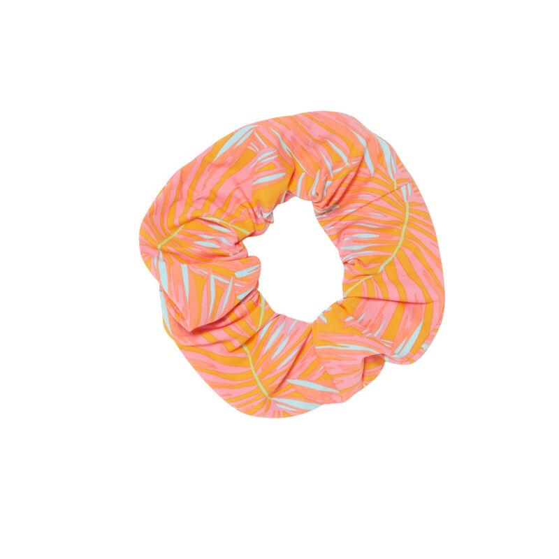 goma del pelo con estampado exótico - naranja;