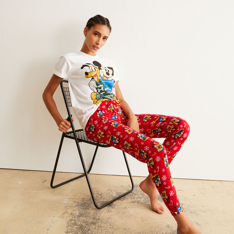 juego de pijama de manga corta Mickey y Pluto - blanco;