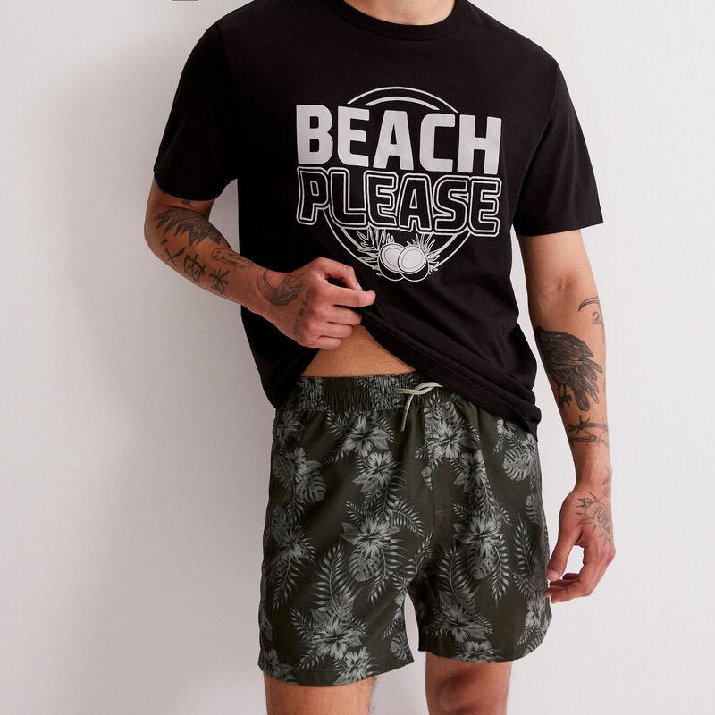 shorts de baño con estampado tropical - caqui ;