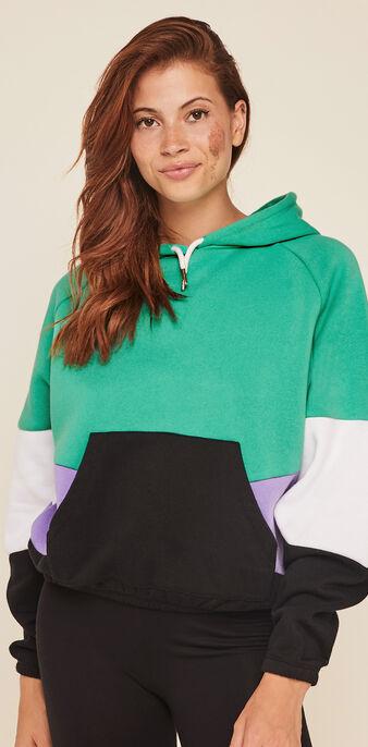 Sudadera de felpa con capucha offliniz verde esmeralda.