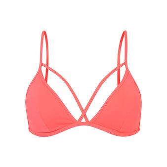 Parte de arriba de bikini rosa flúor abricotiz pink.