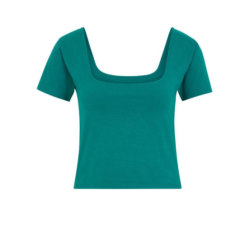 Top con cuello a cuadros - verde;