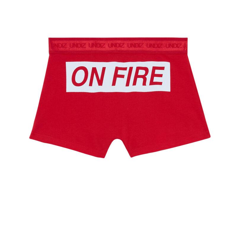 bóxer con mensaje on fire - rojo;