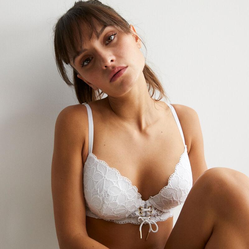sujetador corpiño de aumento blanco con lazado - blanco;