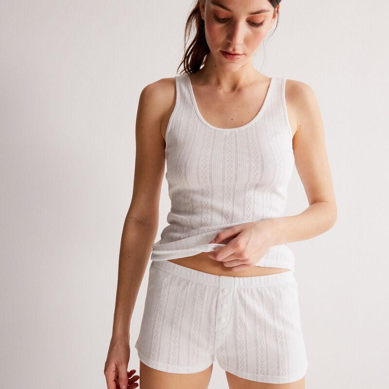 shorts lisos de punto con puntitos - blanco;