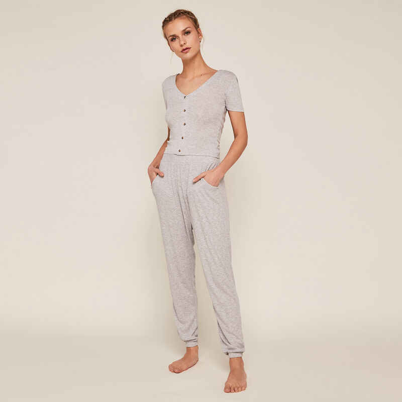 Pantalón con bosillos - gris ;