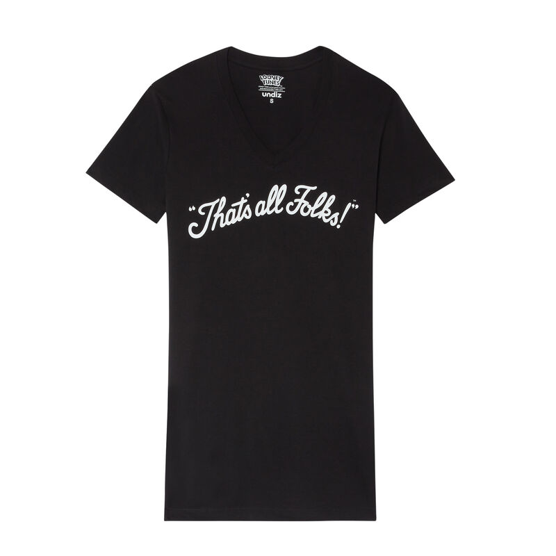 camiseta larga con estampado That's All Folks- negra;