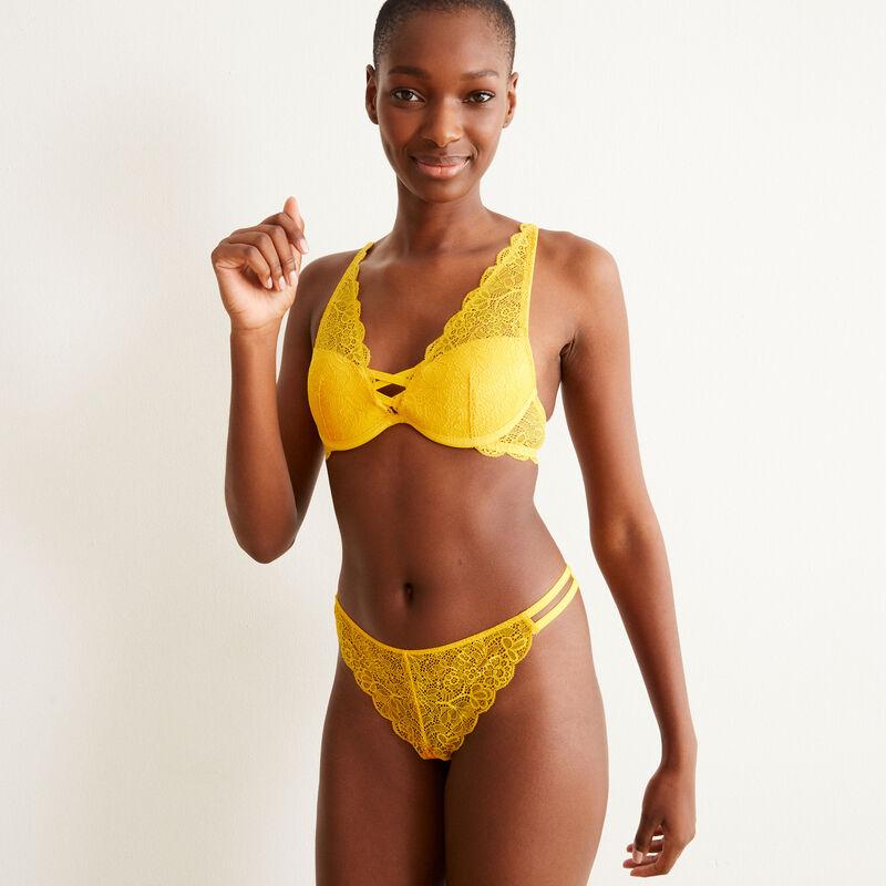 Braguita brasileña de encaje y lazos - amarilla;