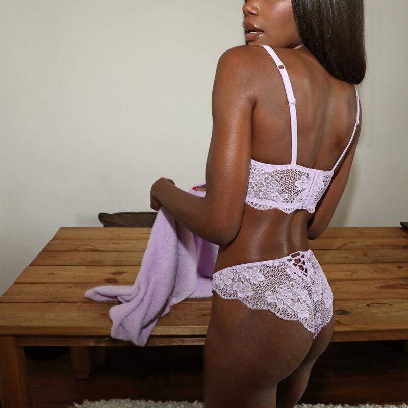 Braguita brasileña de encaje con detalle entrelazado - lila;