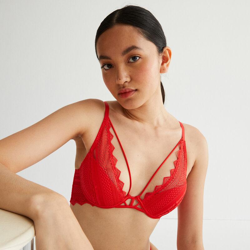 sujetador push-up calado con cintas caladas - rojo;