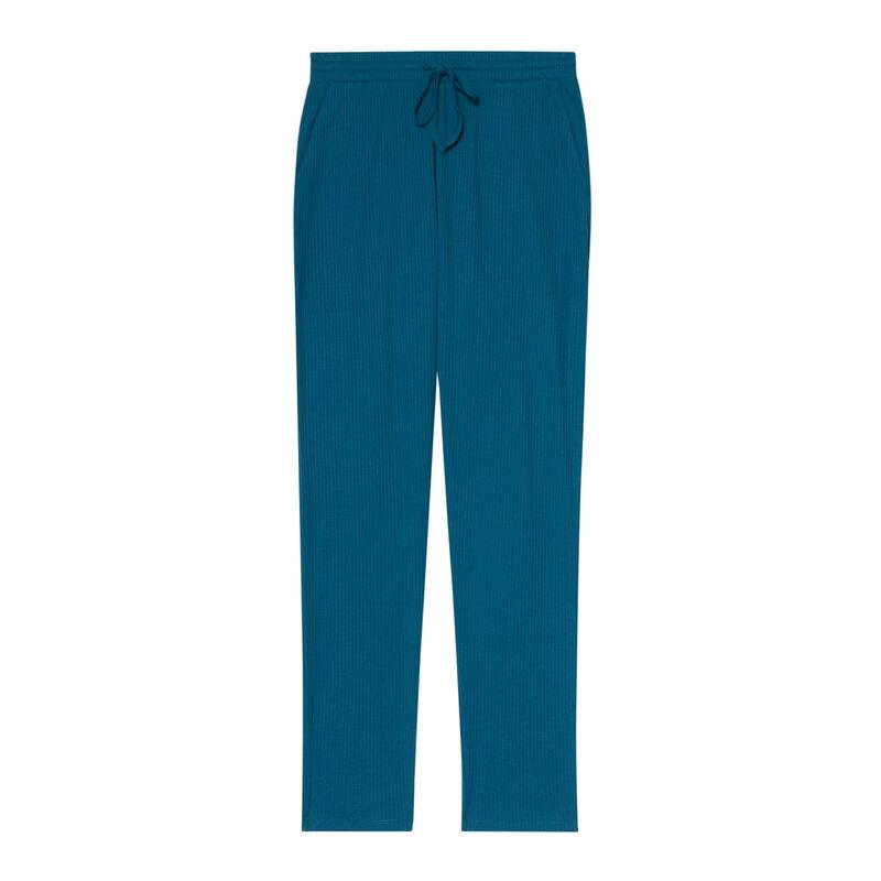 Pantalón de punto - azul ;