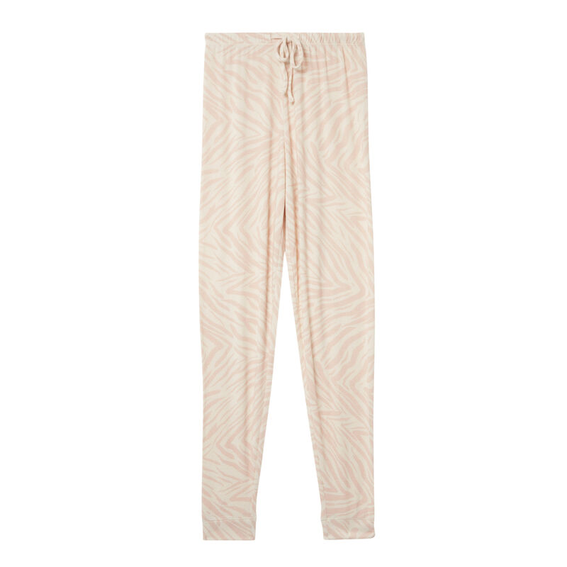 pantalón con efecto cebra - rosa nude;