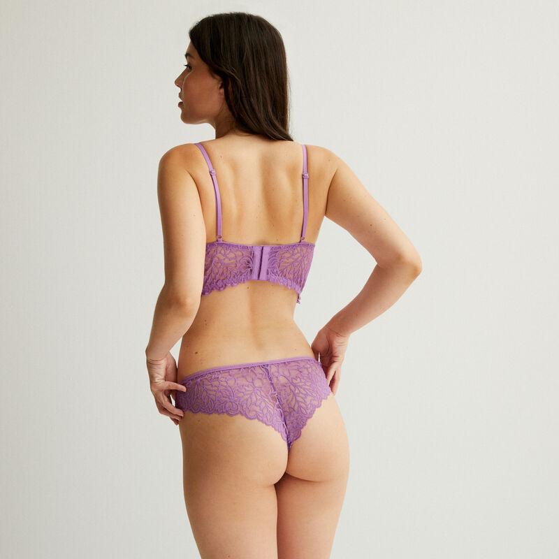 sujetador push-up con cinta de encaje - morado;
