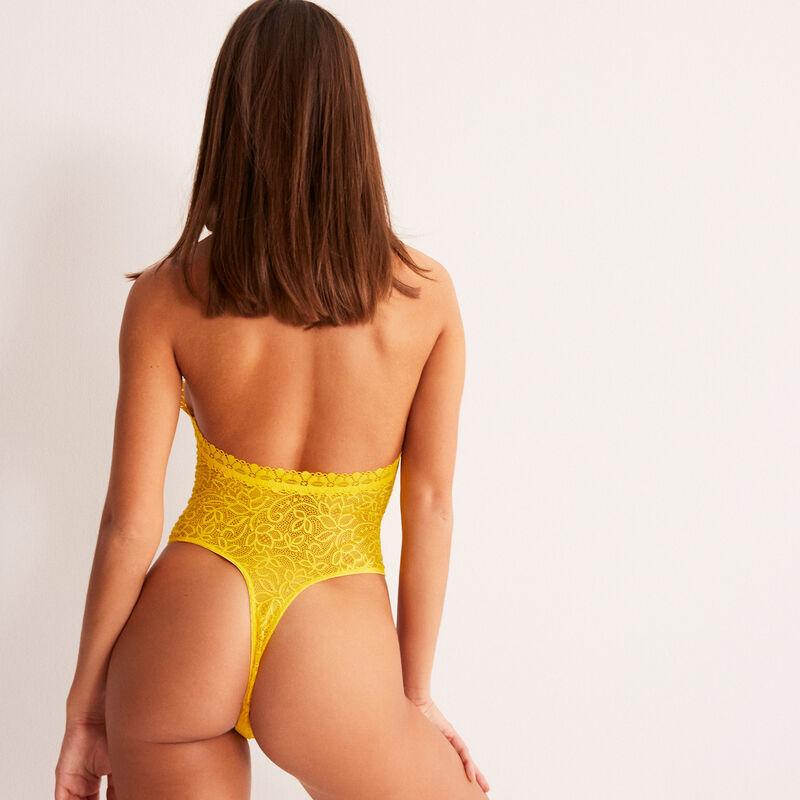 body sin espalda con detalles en el escote - amarillo;