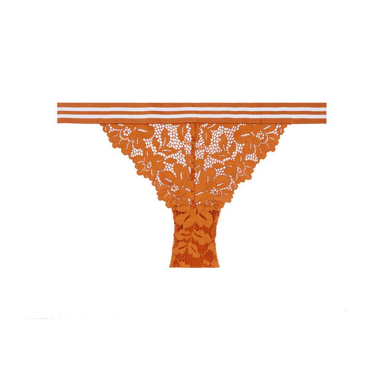 Braguita de encaje y elástico bicolor - marrón;