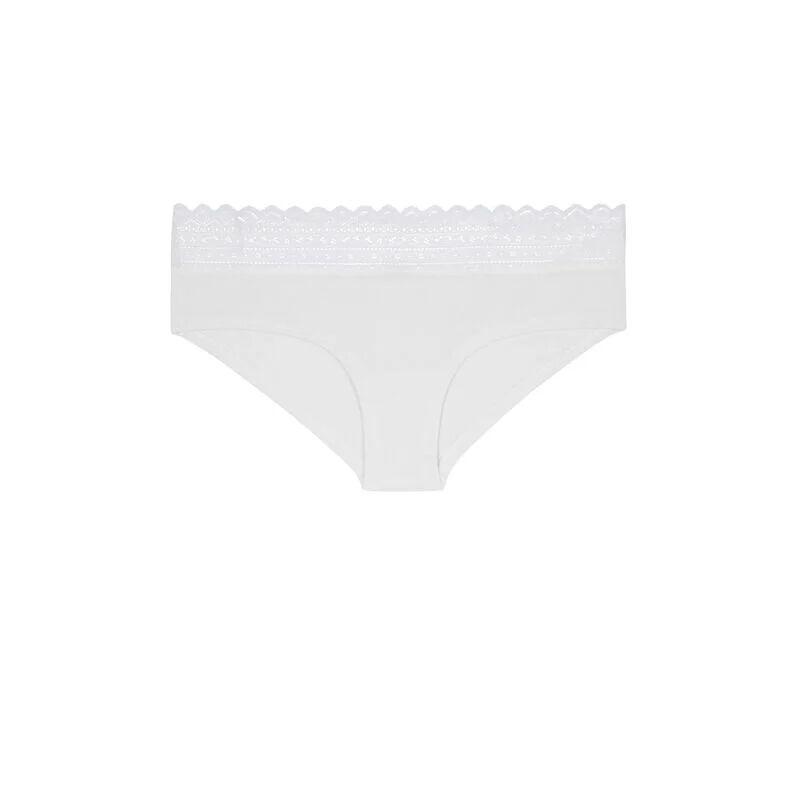 Braguita culotte de algodón con encaje - crudo;