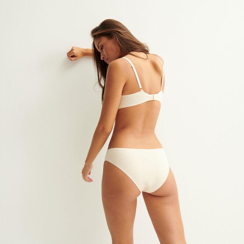 cheeky bikini de algodón liso - nude;