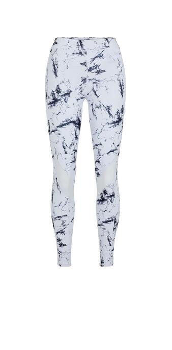 Leggings deportivos con estampado de mármol yogamarbliz blanco.