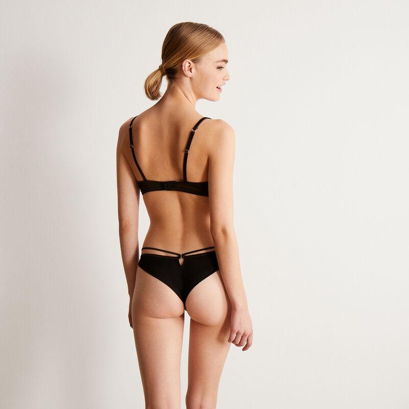 Braguita brasileña de encaje con corazón y cintas - negro;