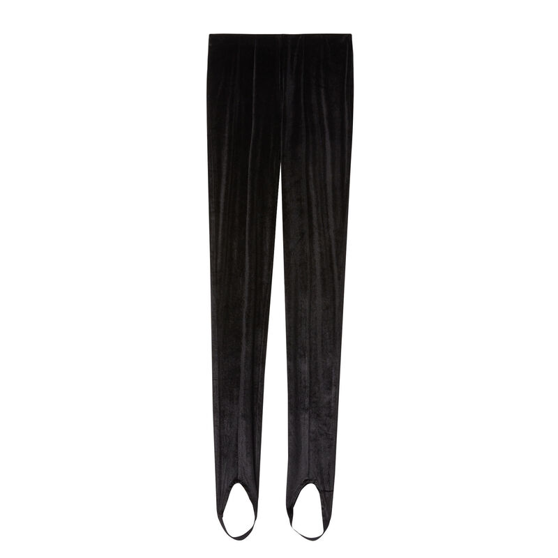 leggings fuseau de terciopelo shiny - negro;