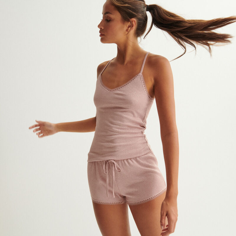 Pantalón corto de lentejuelas con bordes de encaje - rosa nude;
