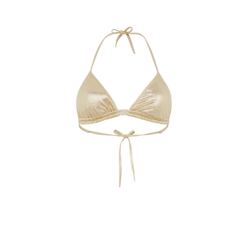 parte de arriba de bikini brillante - dorado ;