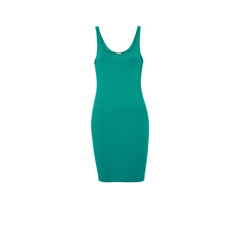 Vestido liso con forma de camiseta sin mangas - verde;
