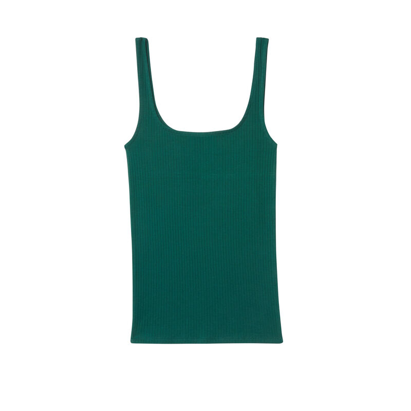 Top sin mangas de punto liso - verde pino;