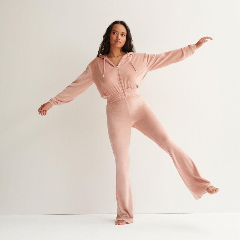 pantalón de talle alto con patas def de terciopelo - rosa nude;