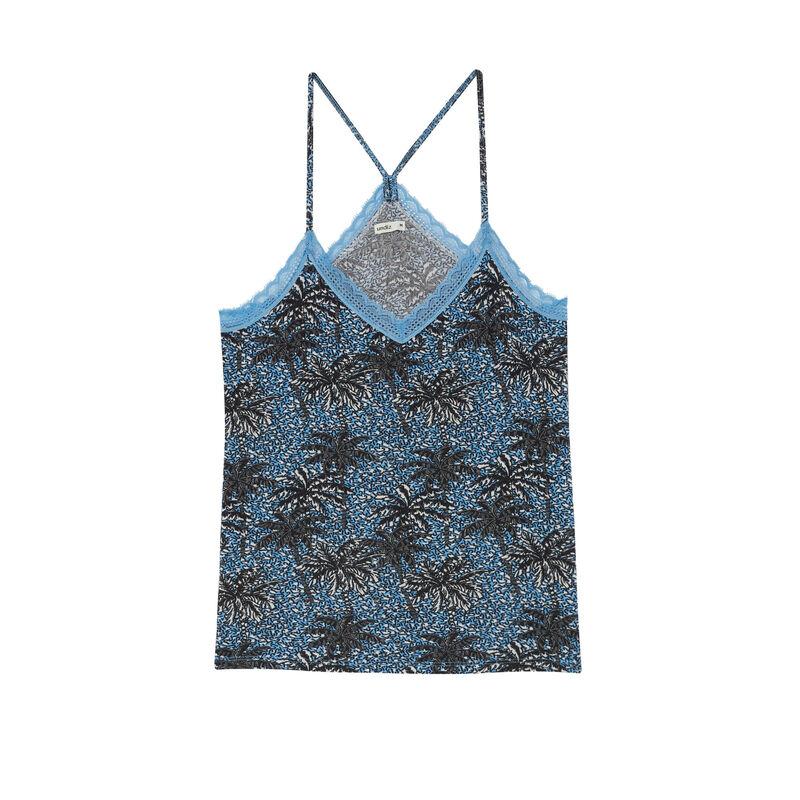 Top de punto con tirantes finos y motivos de palmera - azul;