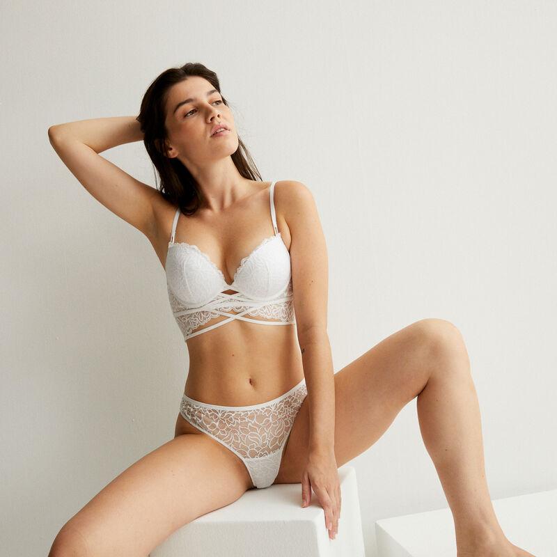Braguita brasileña de encaje con lazo - blanca;