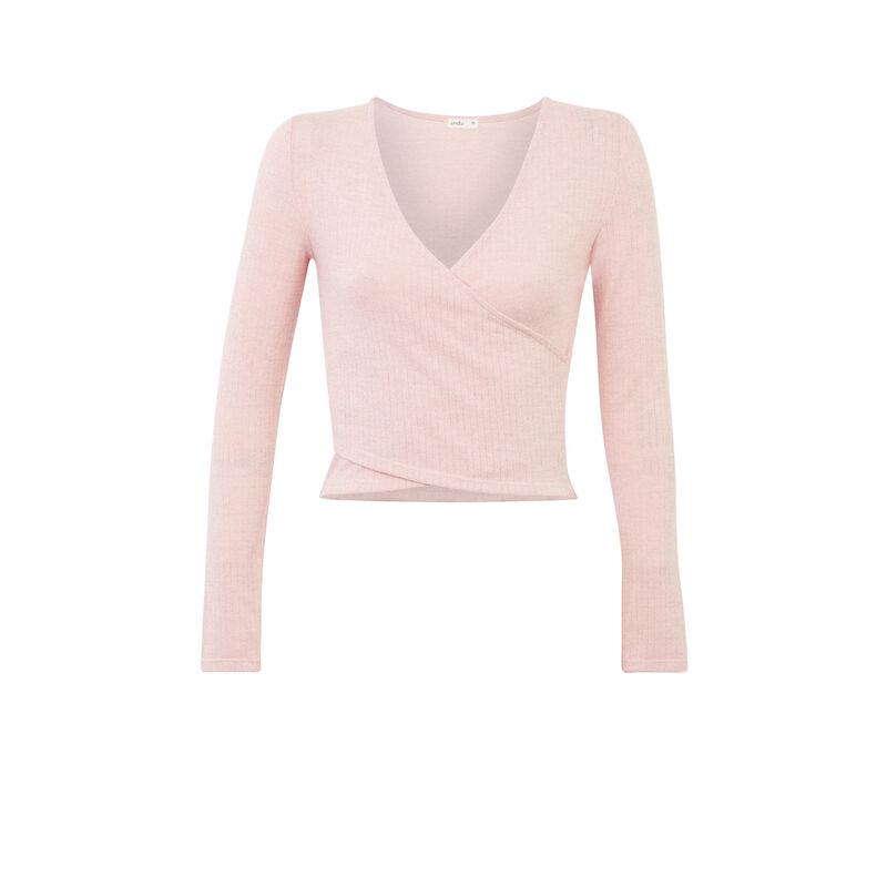 top de manga larga con efecto cruzado - rosa;